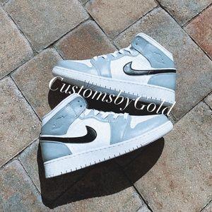Custom Nike air Jordan gray & black